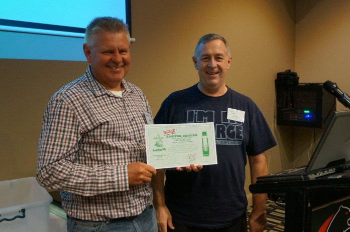 Long time Aus7 member Bruce Wood was the  lucky winner of the Precision Scale NSWR C38, drawn at the Aus7 Forum on Saturday the 21st of March. While the locomotive is yet to be released, Bruce was presented with a certificate from Precision Scale that can be redeemed for the loco when it is finally released.