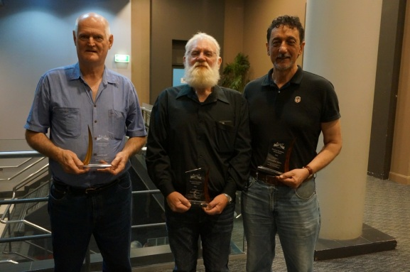 Peter Krause (left), Dave Morris (middle) and Chris Harris (right) pose for a photo with their awards.